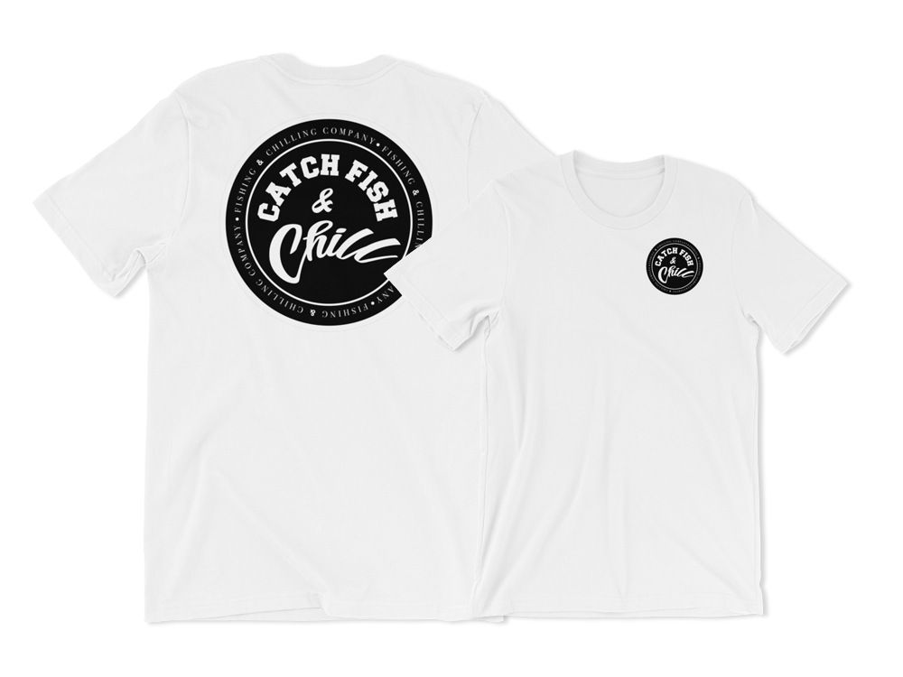 CATCH FISH & CHILL BLACK LOGO TEE