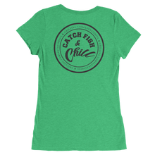 CATCH FISH & CHILL WOMENS BLACK LOGO TRI-BLEND TEE