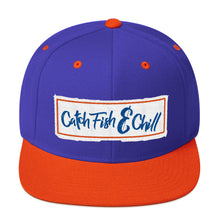 CATCH FISH & CHILL BOX LOGO BLUE FLAT BILL WOOL SNAP BACK