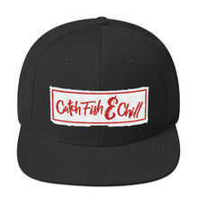 CATCH FISH & CHILL BOX LOGO RED FLAT BILL WOOL SNAP BACK