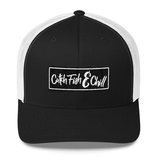 CATCH FISH & CHILL BOX LOGO BLACK CLASSIC TRUCKER HAT