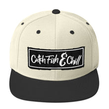 CATCH FISH & CHILL BOX LOGO BLACK FLAT BILL WOOL SNAP BACK