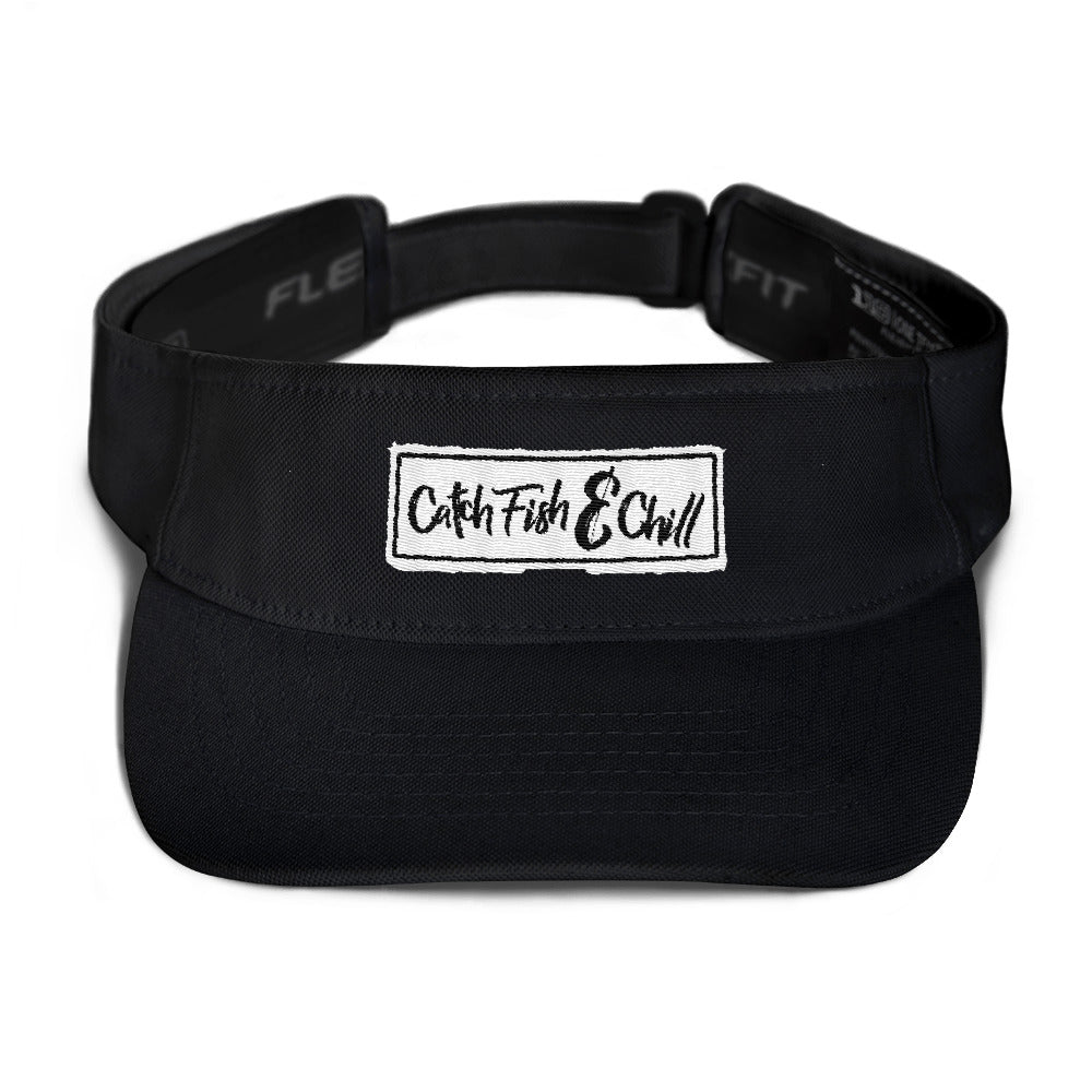 CATCH FISH & CHILL BOX LOGO WHITE FLEXFIT VISOR