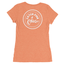 CATCH FISH & CHILL WOMENS WHITE LOGO TRI-BLEND TEE