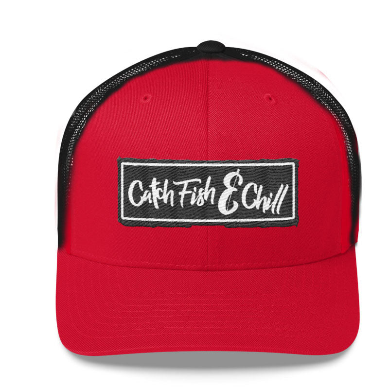 CATCH FISH & CHILL RED & BLACK BOX LOGO HAT