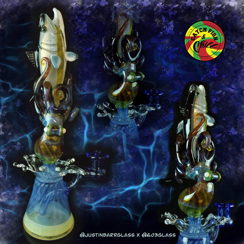 603 X JustinBarrGlass Collab Tuna Vs. Octo 14mm Dab Rig