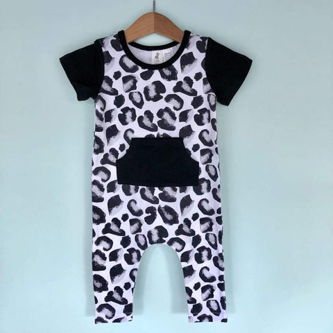 Little Wolfie - Leopard Romper with Black Sleeves