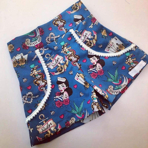Dixie Rockabilly Sailor Shorts