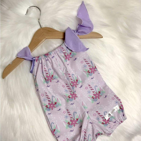 Sleepy Unicorn Christmas Romper