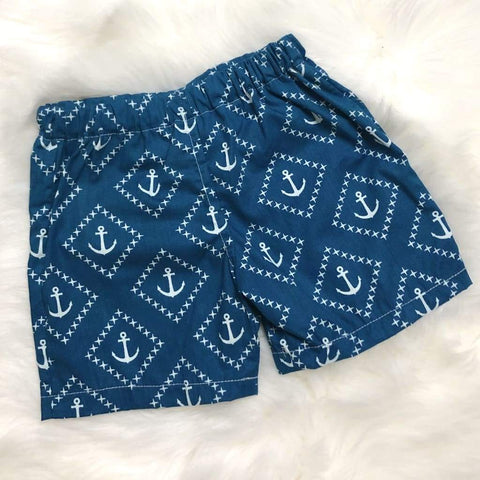 Teal Anchor Shorts