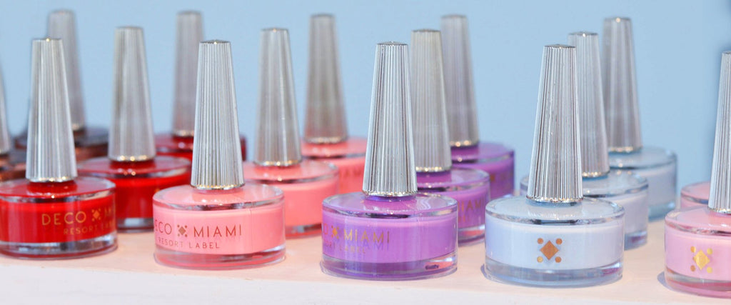 Deco Miami bottles lined up in different shades