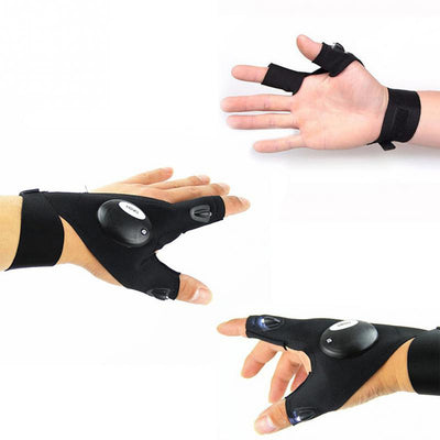 Fingerless Glove with LED Flashlight