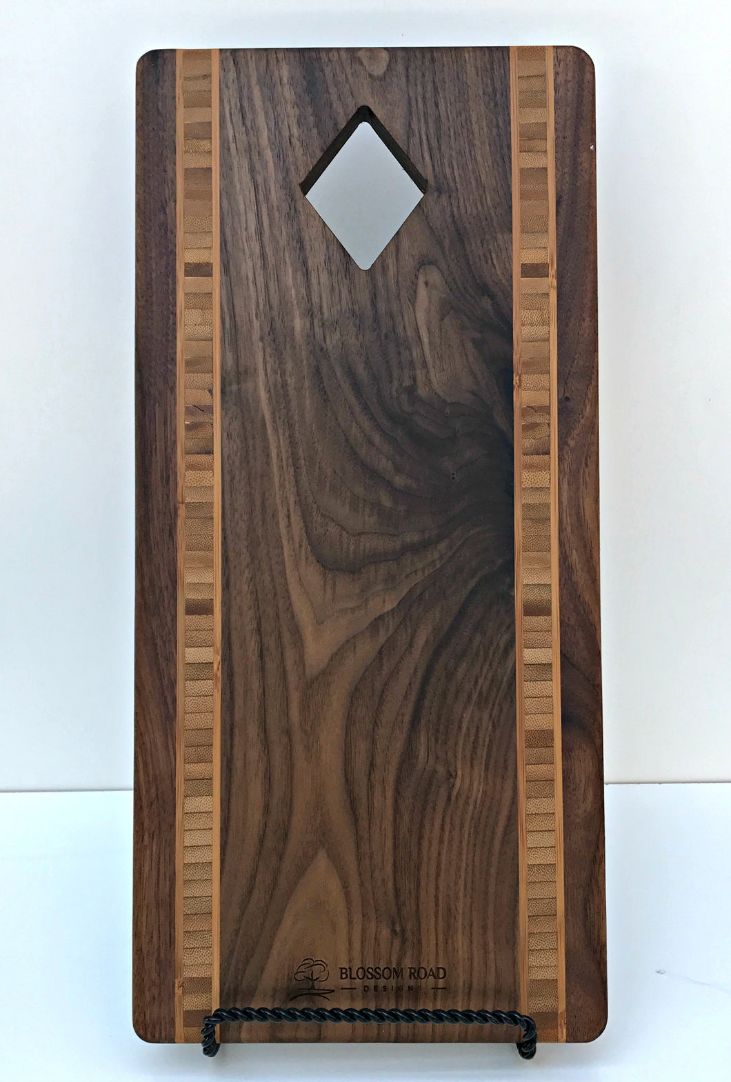 Diamond Artisan Serving Board with Bamboo Inlay - Blossom Road