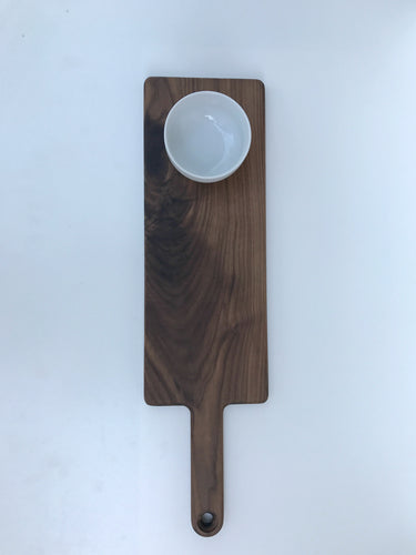 Straight Handled Serving Board With Dipping Bowl