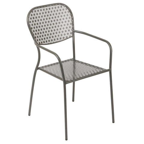 Bolero Grey Steel Patterned Bistro Armchairs (Pack of 4) (Pack of 4)