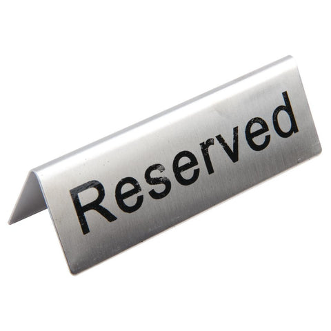 Stainless Steel Table Sign - Reserved (Pack of 10)