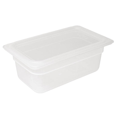 Vogue Polypropylene Gastronorm Pan 1/4 with Lid 100mm (Pack of 4)
