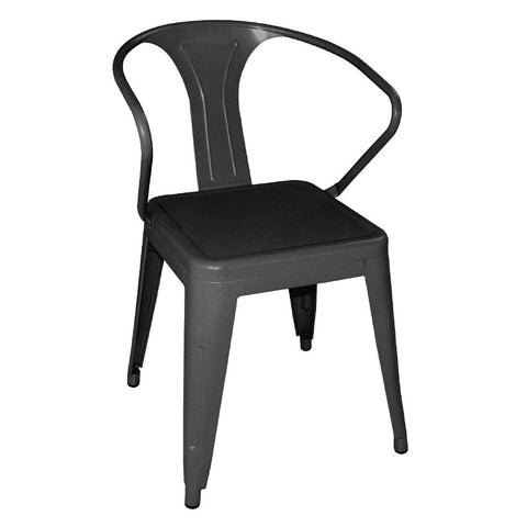 Bolero Steel Bistro Armchairs Black (Pack of 4) (Pack of 4)