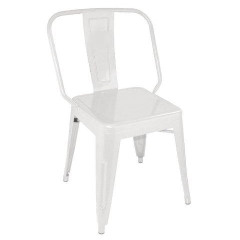 Bolero Steel Bistro Side Chairs White (Pack of 4) (Pack of 4)