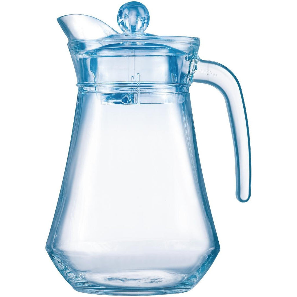 Arcoroc Arc Glass Jugs with Lid Blue 1.3Ltr (Pack of 6)