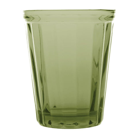 Olympia Cabot Panelled Glass Tumbler Green 260ml (Pack of 6)
