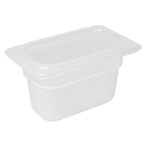 Vogue Polypropylene Gastronorm Pan 1/9 with Lid 100mm (Pack of 4)