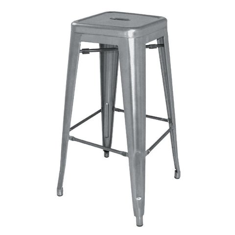 Bolero Steel Bistro High Stools Gun Metal Grey (Pack of 4) (Pack of 4)