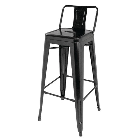Bolero Steel Bistro High Stools with Back Rests Black (Pack of 4) (Pack of 4)