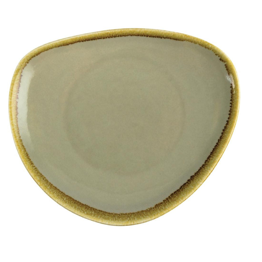 Olympia Kiln Triangular Plate Moss 230mm (Pack of 6)