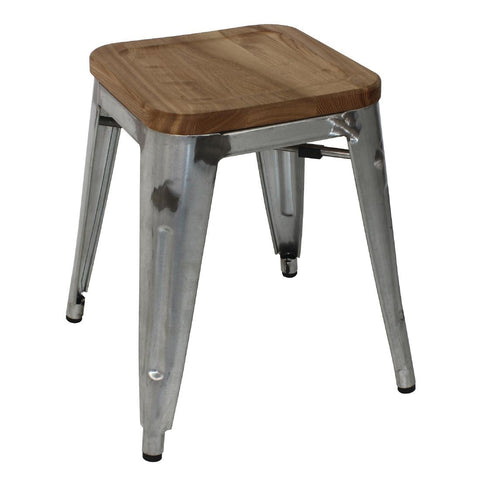 Bolero Galvanised Steel Bistro Low Stools with Wooden Seatpad (Pack of 4) (Pack of 4)