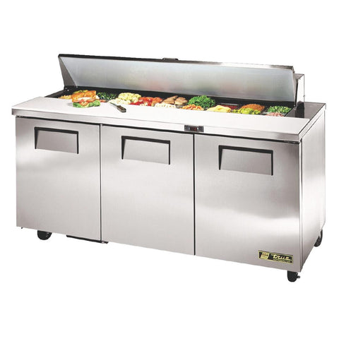 True Salad Prep Counter 3 Door 538Ltr Stainless Steel