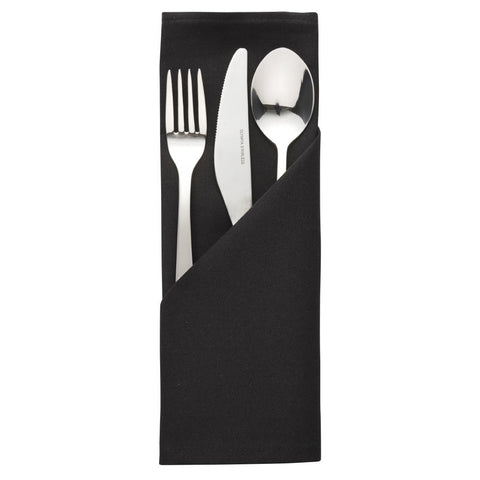 Palmar Polyester Black Napkin (Pack of 10)