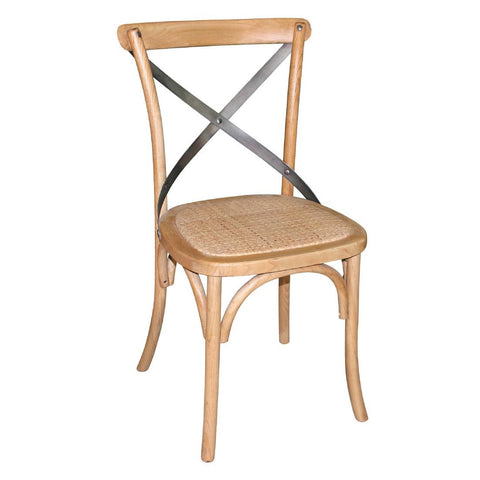 Bolero Natural Wooden Dining Chairs with Backrest (Pack of 2) (Pack of 2)