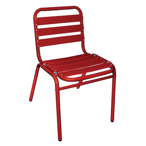 Bolero Red Aluminium Bistro Side Chair (Pack of 4) (Pack of 4)