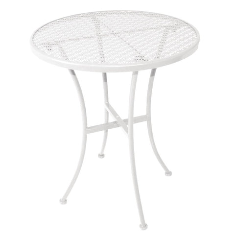 Bolero White Steel Patterned Round Bistro Table White 600mm