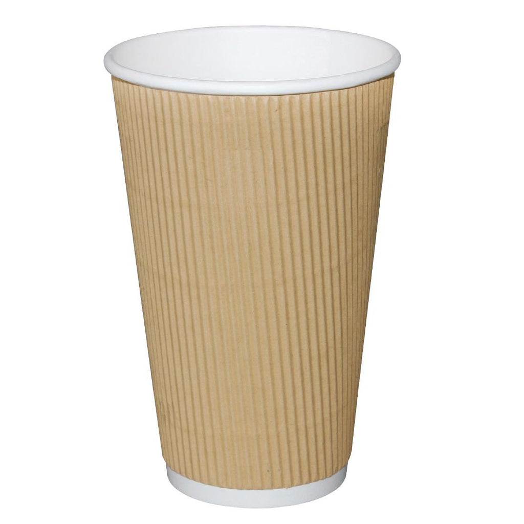 Fiesta Ripple Wall Disposable Cups Kraft 450ml x500 (Pack of 500)
