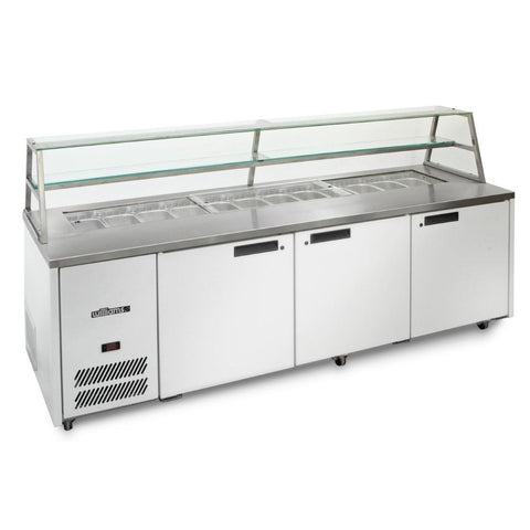 Williams 3 Door Sandwich and Prep Counter With Canopy HJ3SCBA Stainless Steel