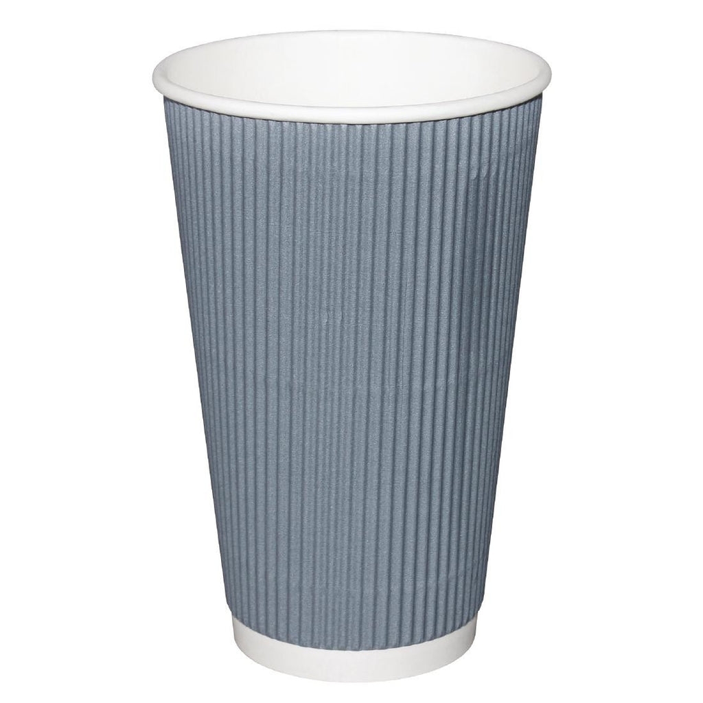 Fiesta Takeaway Coffee Cups Ripple Wall Charcoal 450ml x500 (Pack of 500)