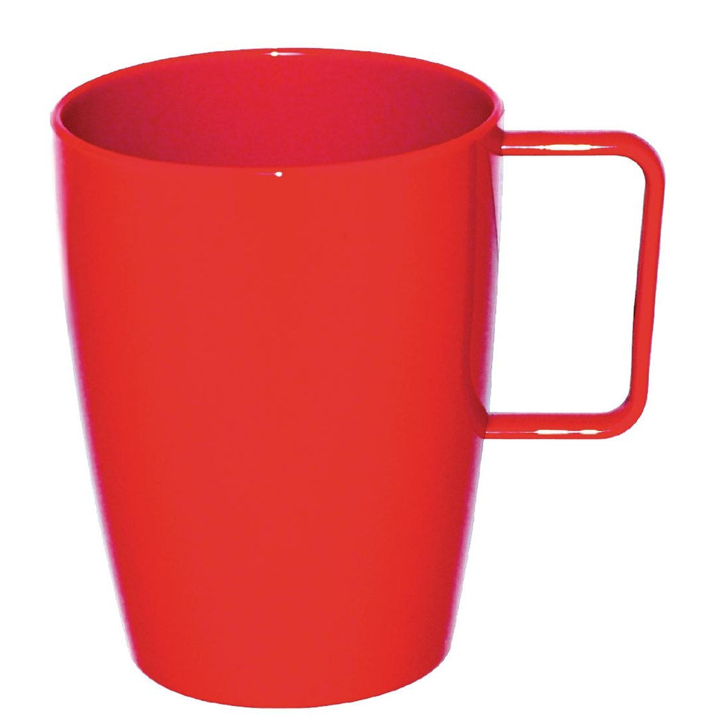 Kristallon Polycarbonate Handled Cups Red 284ml (Pack of 12)