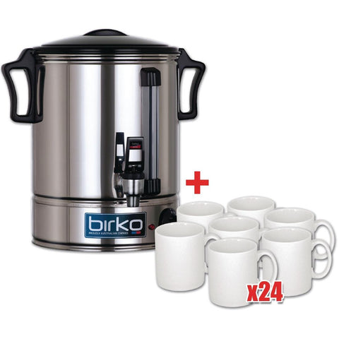 Birko 10Ltr Hot Water Urn and 24 Free Mugs