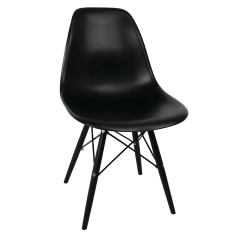 Bolero Black Moulded Chairs with Black Wooden Legs (Pack of 2) (Pack of 2)