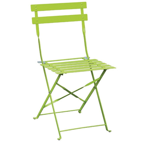 Bolero Green Pavement Style Steel Folding Chairs (Pack of 2) (Pack of 2)