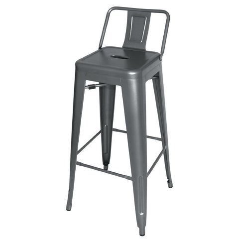 Bolero Steel Bistro High Stools with Back Rests Gun Metal Grey (Pack of 4) (Pack of 4)