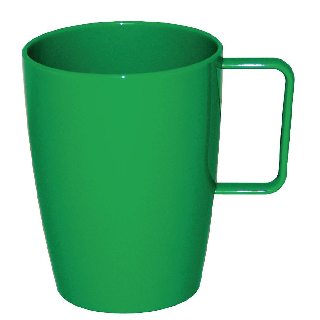Kristallon Polycarbonate Handled Cups Yellow Green 284ml (Pack of 12)