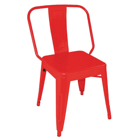Bolero Steel Bistro Side Chairs Red (Pack of 4) (Pack of 4)