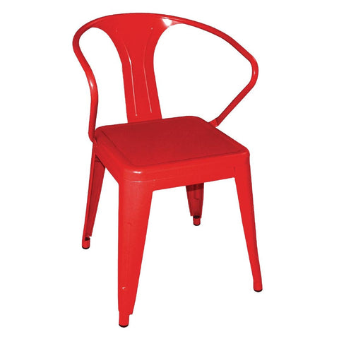 Bolero Steel Bistro Armchairs Red (Pack of 4) (Pack of 4)