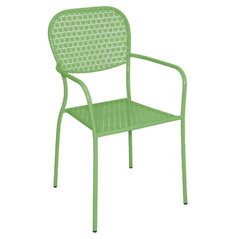 Bolero Green Steel Patterned Bistro Armchairs (Pack of 4) (Pack of 4)