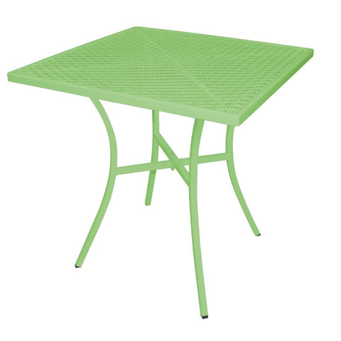Bolero Green Steel Patterned Square Bistro Table Green 700mm