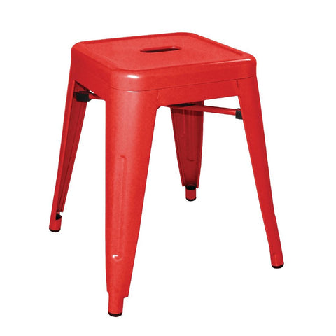 Bolero Steel Bistro Low Stools Red (Pack of 4) (Pack of 4)