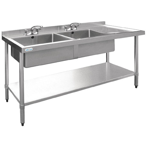 Vogue Double Bowl Sink Right Hand Drainer 1800mm